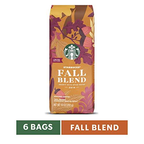 Starbucks Fall Blend Medium Roast Ground Coffee, 10-Ounce Bags (Pack of 6)
