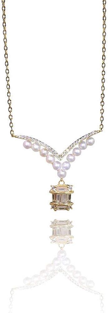 FHIKLW Collares,Collar De Perlas Naturales De Agua Dulce Creativo Retro S925 Collar De Plata Esterlina Cesta Colgante