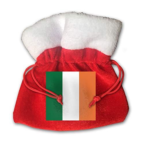 CYINO Personalized Santa Sack,Flag of Ireland Portable Christmas Drawstring Gift Bag (Red)