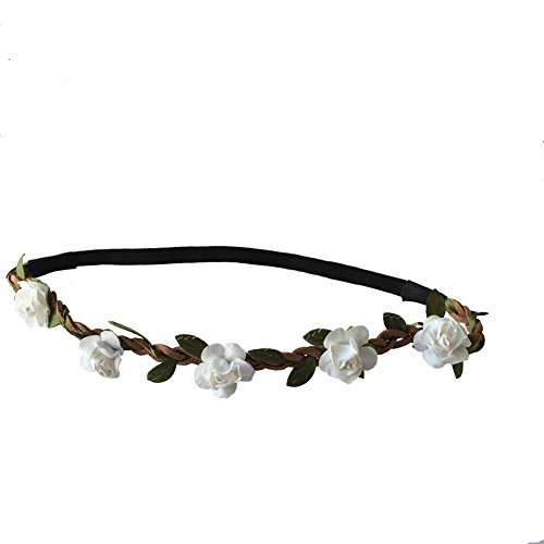 Festival Paper Roses Headband Leather Woven Floral Hair Band Flower Bridal Crown Hair Wedding Garland (white) (Leather Garland)