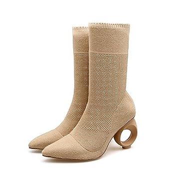 Wuyulunbi@ Zapatos De Mujer Materiales Personalizados Moda Otoño Invierno Botas Botas Botas De Combate Cono