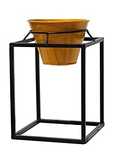 Square Iron Stand With Round Metal Planter, Yellow And Black - Gr9mt04