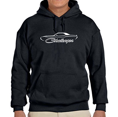 1970-74 Dodge Challenger Hardtop Classic Outline Design Hoodie Sweatshirt large black