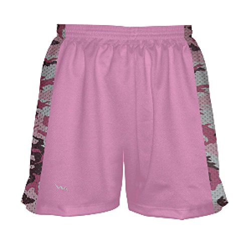 Youth Girls Pink with Pink Camouflage Side Lacrosse Shorts Youth X-Small, Pink ()
