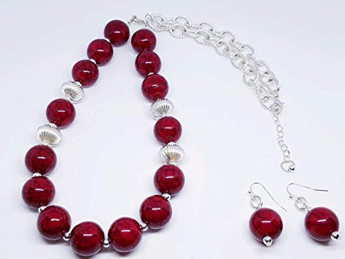 (Round Red Resin Beads/Silver Plated Melon Corrugated w/Silver Plated Metal Beaded Duo Set)