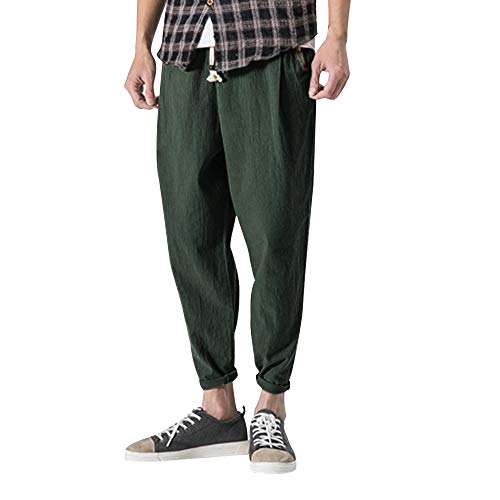 Allywit Mens Casual Baggy Cotton Linen Pocket Lounge Harem Pants Beach Long Shorts Big and Tall by Allywit