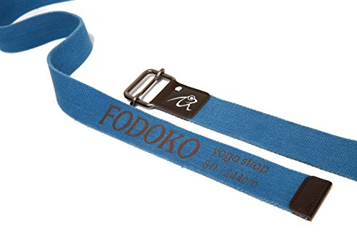 FODOKO Yoga Strap for Stretching Yoga Belt 8ft Durable Cotton Adjustable Buckle for Stretching,Flexibility and Physical Therapy (Blue, 8ft)