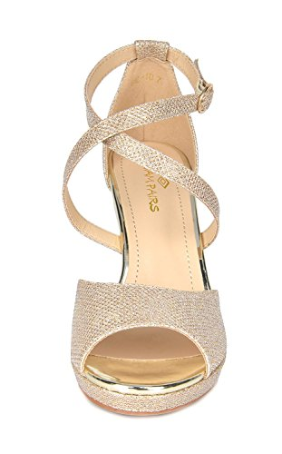 10 GAL Stilettos Sandals Women's DREAM Fashion GOLD GLITTER Heeled PAIRS w70vpxBnaZ