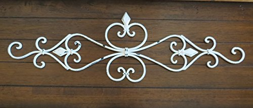Fleur de Lis Metal Wall Décor / Scrolled Wrought Iron Wall Décor / Antique White or Pick Your Color
