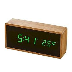 Zwbfu Digital LED Bamboo Alarm Clock Wooden Rectangle Clock Multifunctional Noiseless Mirror Clock