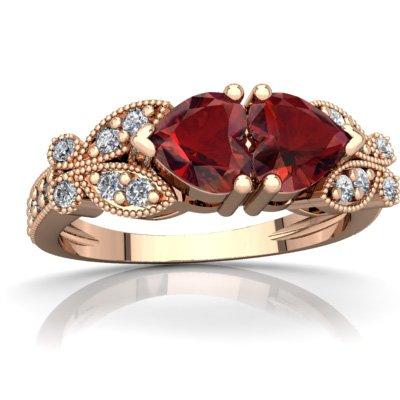 14K Rose Gold Garnet and Diamond Heart