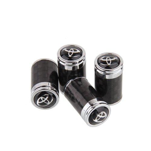 CzlpV 4pcs Carbon Fiber Auto Car Wheel Tire Air Valve Caps Stem Cover fit for Toyota (Black)