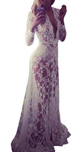 Sleeve Through Deep Jaycargogo Neck See Dress Maxi V Long White Womens Lace rXxrwE8