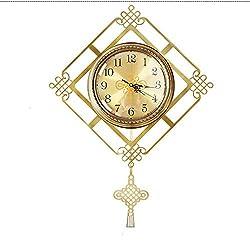 Wall Clock Metal Wall Clock Silent Quartz Clock Hanging Table Living Room Decoration Clock 20 Inch KANULAN1117 (Color : Gold)