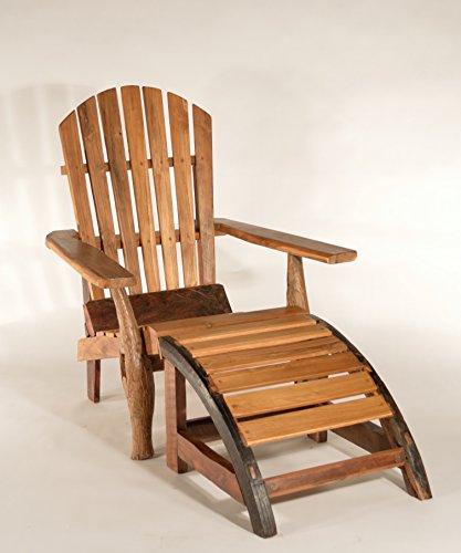 Teak West Teak Adirondack Chair and Ottoman in Reclaimed Teak Wood