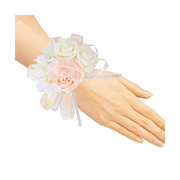 zilue Pack of 4 Wedding Girl Bridesmaid Wrist Corsage Hand Flower Party Prom Accessories Champagne