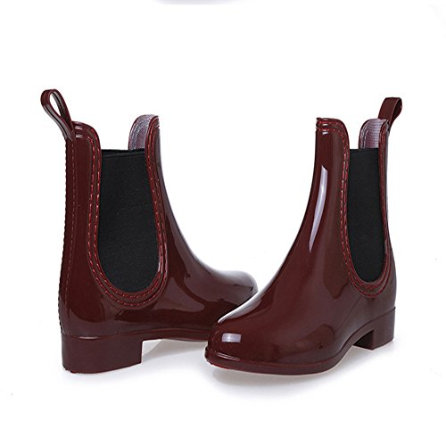 Low Rubber Band Heel Women Shoes Elastic Fashion Waterproof Ankle Solid day Boots Rain Color Raining Red XIANV 8YwBqxT6w