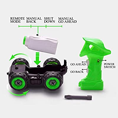 pop mart Take Apart Toys RC Sanitation Truck Car Remote Control DIY Vehicle Green RC Garbage Recycling Car Toy Assemable Early Educational Toddler Toy Set Powered Car Toy for Children Boys Girls Kids: Toys & Games