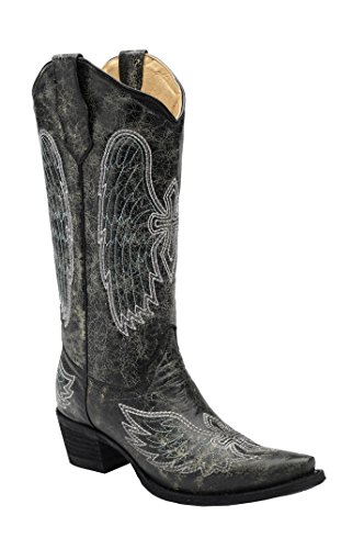 Corral Circle G Women's Grey/Blue Wing and Cross Embroidered Cowboy Boots (Corral Boots Women Cross)