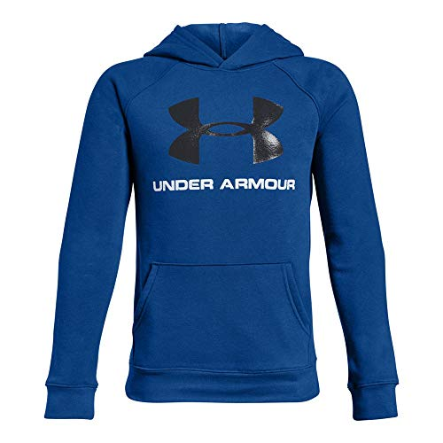 Under Armour Boys Rival Logo Hoodie, Royal (400)/Black, Youth Small ()