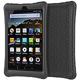 Silicone Case Compatible Amazon Kindle Fire HD 8 2016/2017 Protective Shell Skin Silicone Case Cover (Black)