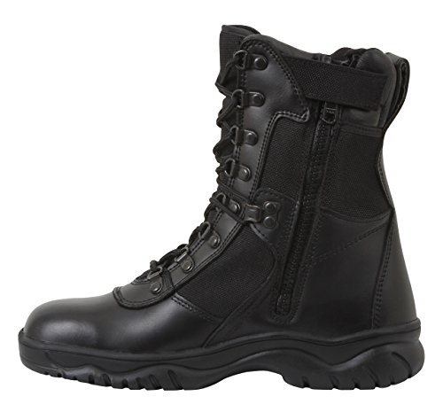 Forced Entry Tactical Boot - Rothco 8'' Forced Entry Side Zip Tact Boot, Black, 6