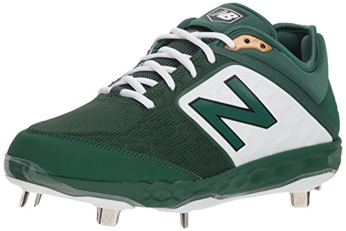 New Balance Men's 3000v4 Baseball Shoe, Green/White, 12.5 2E US (Dark Baseball Green Cleats)