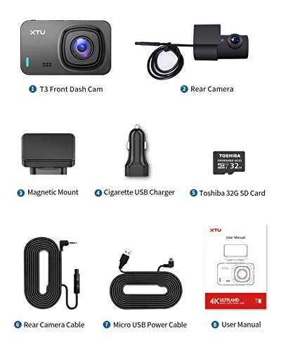 XTU Dual Dash Cam I 1440P+1080P Dash Cam Front Rear, Single Front 4K Dash Camera for Cars Built-in WiFi/GPS, HD Night Vision, Magnetic Mount, Mini Size, Loop Recording, Gesture Snapshot (32GB SD card)