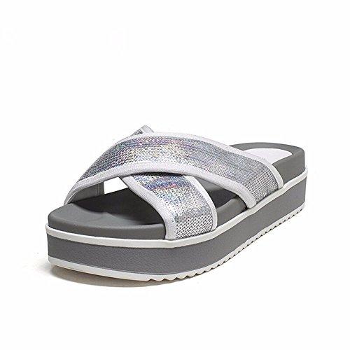 Dedos Piscina Calzado Cool Simple Moda Antideslizante Grueso Verano Inferior silvery Zapatillas YMFIE Sandalias zC6wqTtx