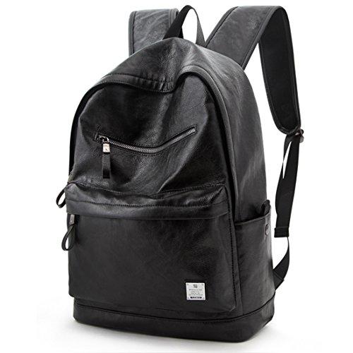 PU Leather Backpack School College Bookbag Laptop Computer Rucksack Black