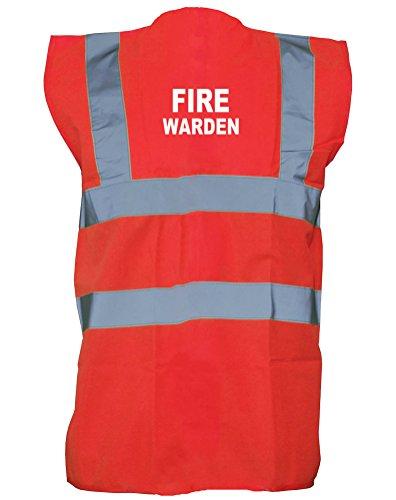 Fire Warden, Printed Hi-Vis Vest Waistcoat - Red/White 2XL - Junior Safety Vest