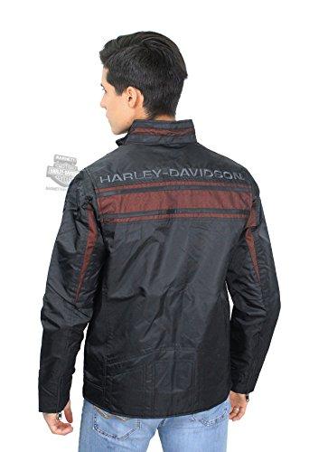 Harley-Davidson Mens Mesh Accent Contrast Stripes Black Casual Jacket (Harley Davidson Nylon Jacket)