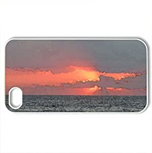 Beach sunrise at Outerbanks - Case Cover for iPhone 4 and 4s (Beaches Series, Watercolor style, White)