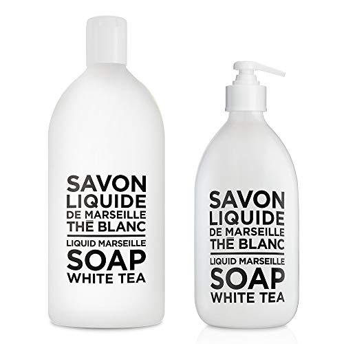 Compagnie de Provence Savon de Marseille Extra Pure Liquid Soap - White Tea - 16.9 Fl Oz Glass Pump Bottle and 33.8 fl oz Plastic Bottle Refill