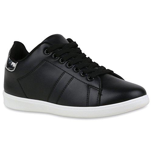Stiefelparadies Damen Sneaker Low Basic Flandell Schwarz Silber