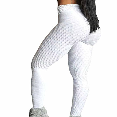 (Sunmoot High Waist Yoga Pants Push Up,Sexy Women Sports Workout Gym Fitness Exercise Athletic Trouser Skinny Leggings White)