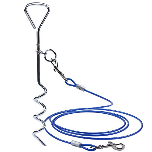 15ft Puppy Cable Tie Out (Dog Tie Out Cable Dog TieOut Stainless Stake 10ft Complete Leash and Tether Spiral Tie-Out for Outdoor, Yard and Camping - Small to Medium Dogs)