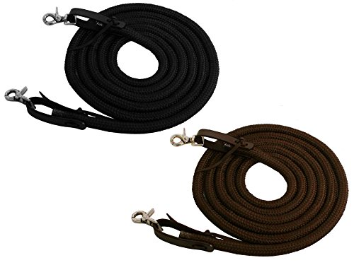Tahoe Tack Poly Rope Reins 10 Feet (Brown) - 10' Ropers Leather