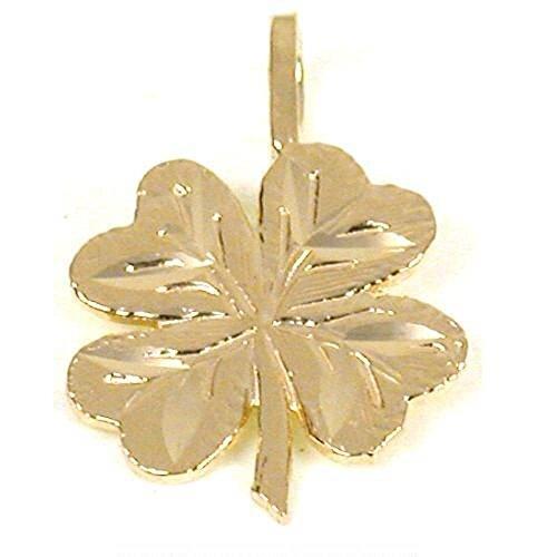 Gold Four Leaf Clover Charm (14K Gold Charm 4 Leaf Clover Irish Good Luck Jewelry)