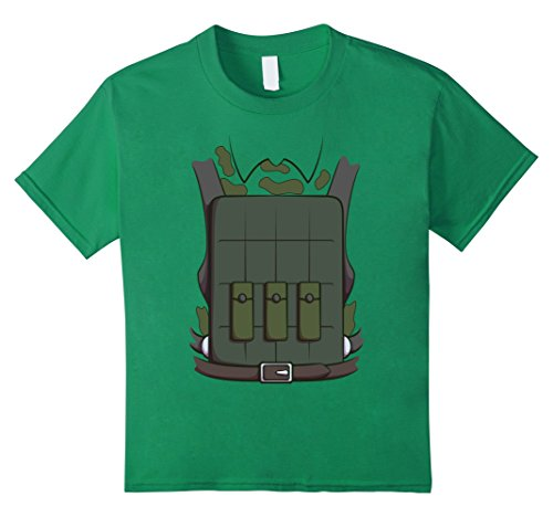 [Kids Soldier Costume T-Shirt for Halloween Soldier Cosplay Tee 4 Kelly Green] (Military Themed Costume Ideas)
