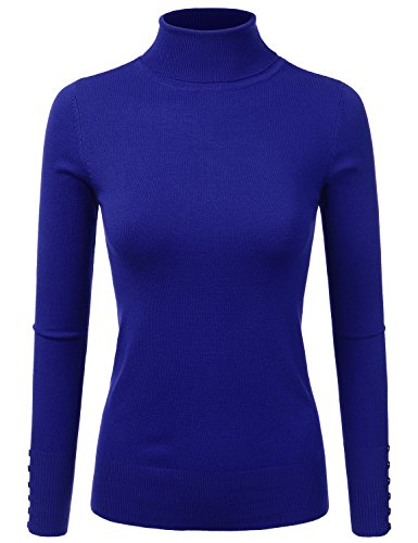 DRESSIS Womens Long Sleeve Stretchy Knitted Turtleneck Sweater TRUEROYAL - Gorgeous Turtleneck