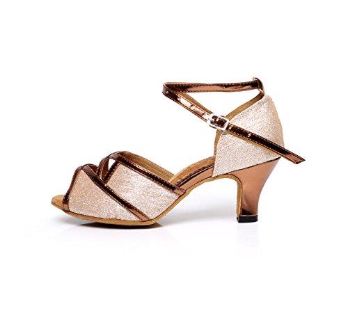 Zapatos heeled6cm Graphics Our38 Salsa Brown Latin Ballroom Sexy EU37 JSHOE Baile Para Tango UK5 Glitter De Mujer fPdwTqOx