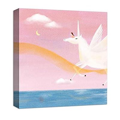 Incredible Work of Art, Unicorn Flying Ridding A Girl Painting Artwork for Framed for Children, Premium Creation