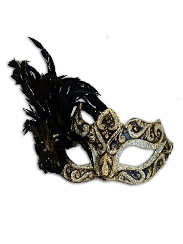 Venetian Eye Mask Colombina Ombra Piume for Women (Black-Gold)