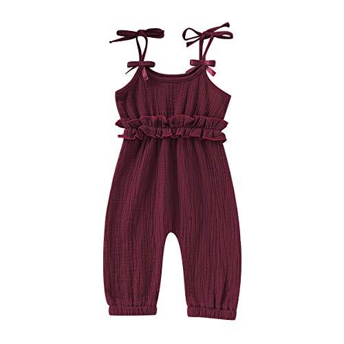 Kids Newborn Infant Baby Girls Summer One Piece Romper Clothes Jumpsuit Ruffled Halter Bodysuit (Red, 12-18 Months)