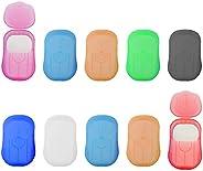 Portable Travel Soap Sheets,10 Pcs Disposable Soap Paper Flakes for Travel Outdoor Kitchen Toilet(Random Color