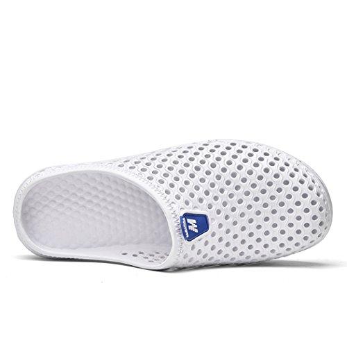 Unisex Summer Hollow Out Sandals Garden Clogs Breathable Mesh Slipper Couple Beach Shoes Men Women White JLIap