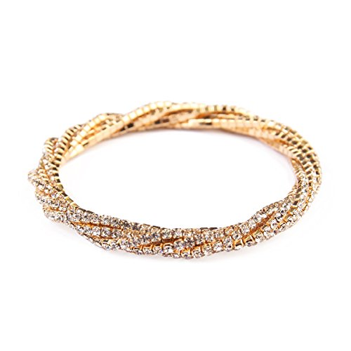 MYS Collection Women's Rhinestone Stretchable Bracelet (Clear/Gold) Fashion Stretchable Bracelet