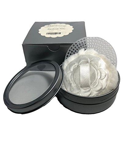 Compact Powder Puff with Mini Silver Metal Canister and Sifter