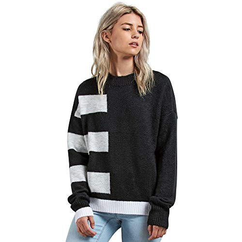 Volcom Junior's Cold Band Color Blocked Crew Neck Sweater, Black, Small by Volcom